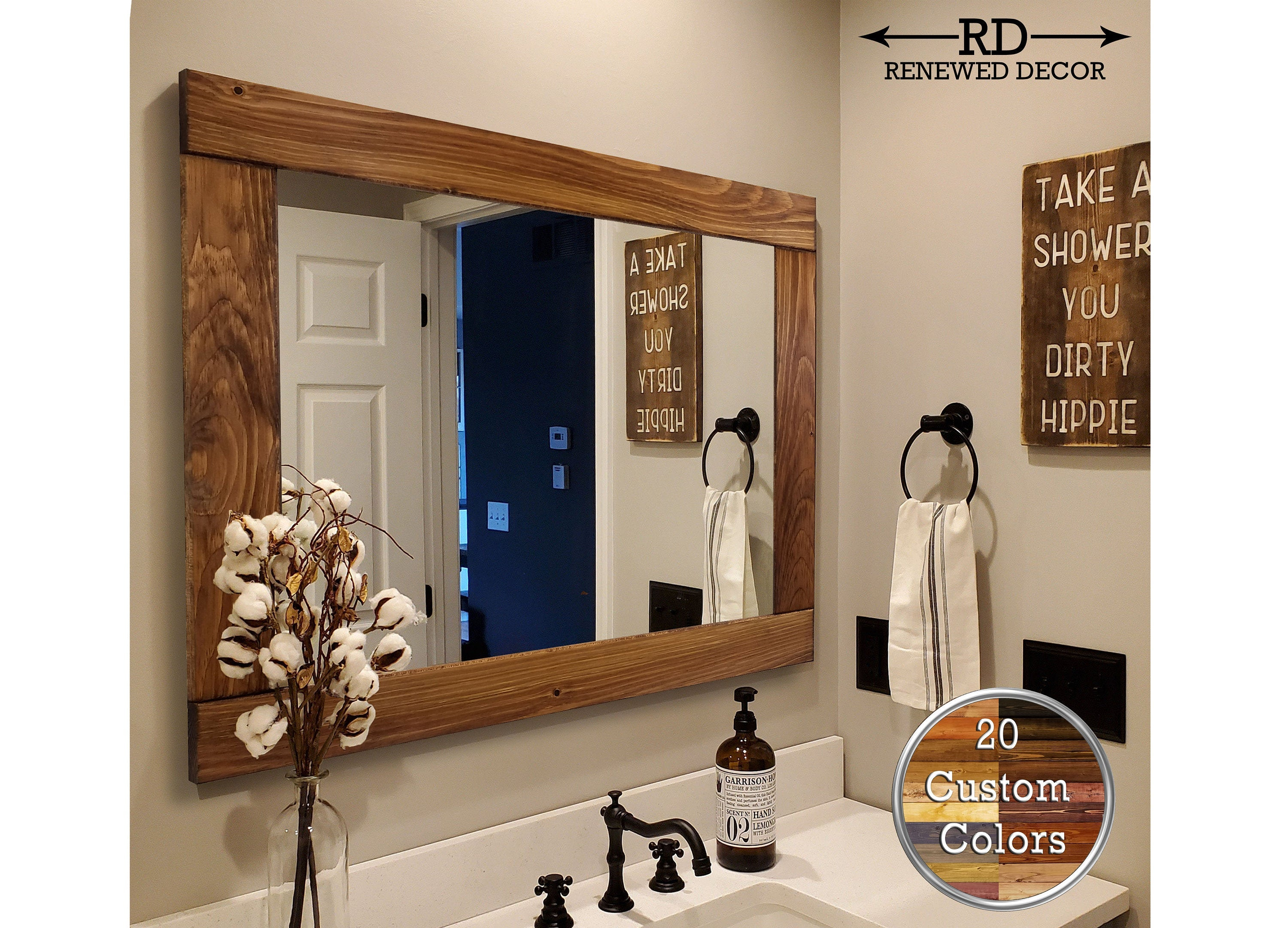 Natural Rustic Wood Framed Mirror 20 Stain Colors Renewed Decor Storage