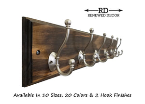 Brookside Wall Mounted Hook Rack - 20 Stain Colors - Renewed Decor & Storage