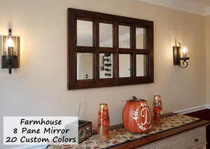 Farmhouse 8 Pane Framed Window Mirror - 20 Stain Colors - Renewed Decor & Storage