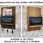 Sydney Mail Slot with Chalkboard & Choose from 20 Colors and Up To 3 Hooks - Renewed Decor & Storage