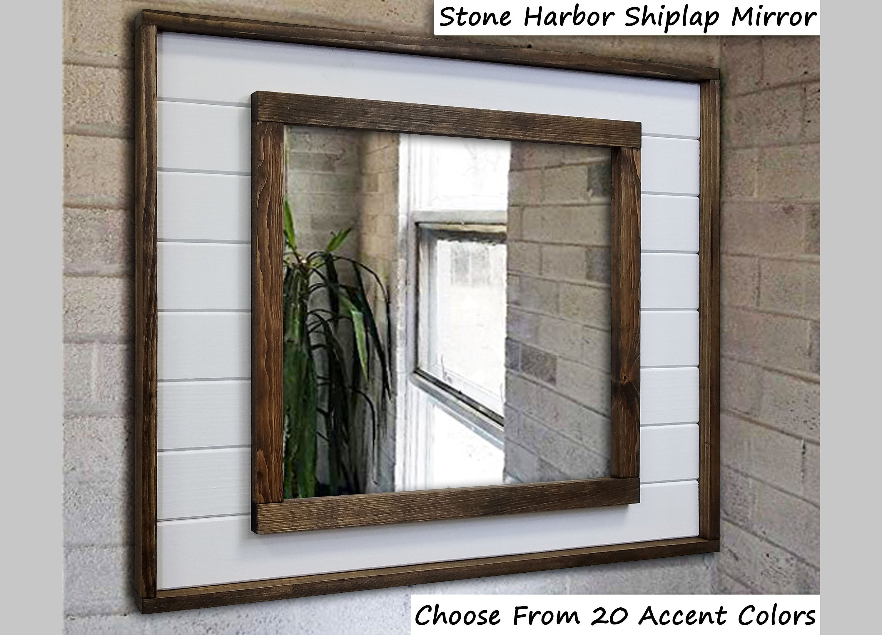Stone Harbor Shiplap Framed Wall Mirror, Rustic Wall Decor, Mirror Wall Decor, Vanity Mirror, Bathroom Mirror, Rustic Mirror, Shiplap Boards - Renewed Decor & Storage