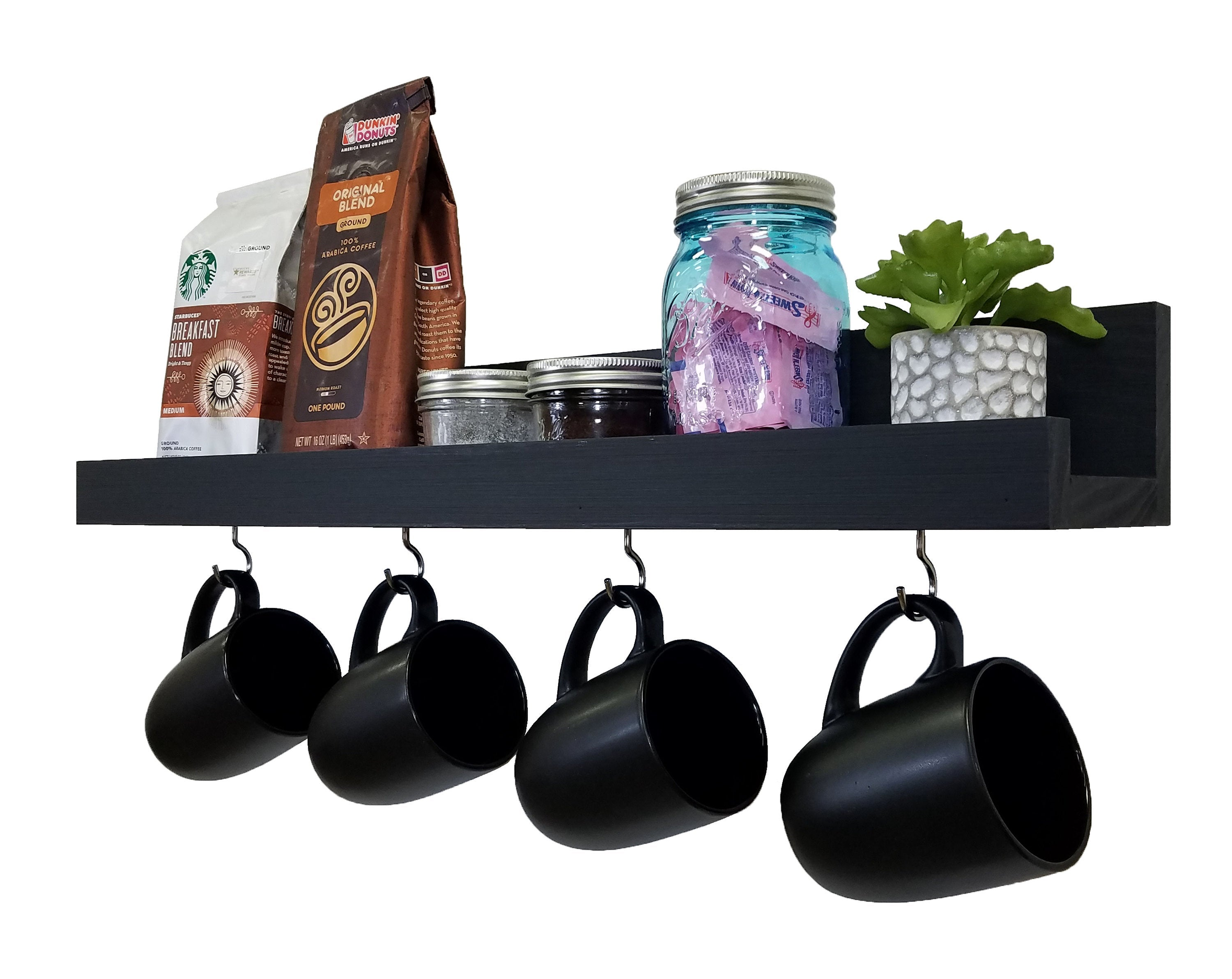 Bridgewater Wooden Wall Shelf with Hooks - 20 Paint Colors - Renewed Decor & Storage