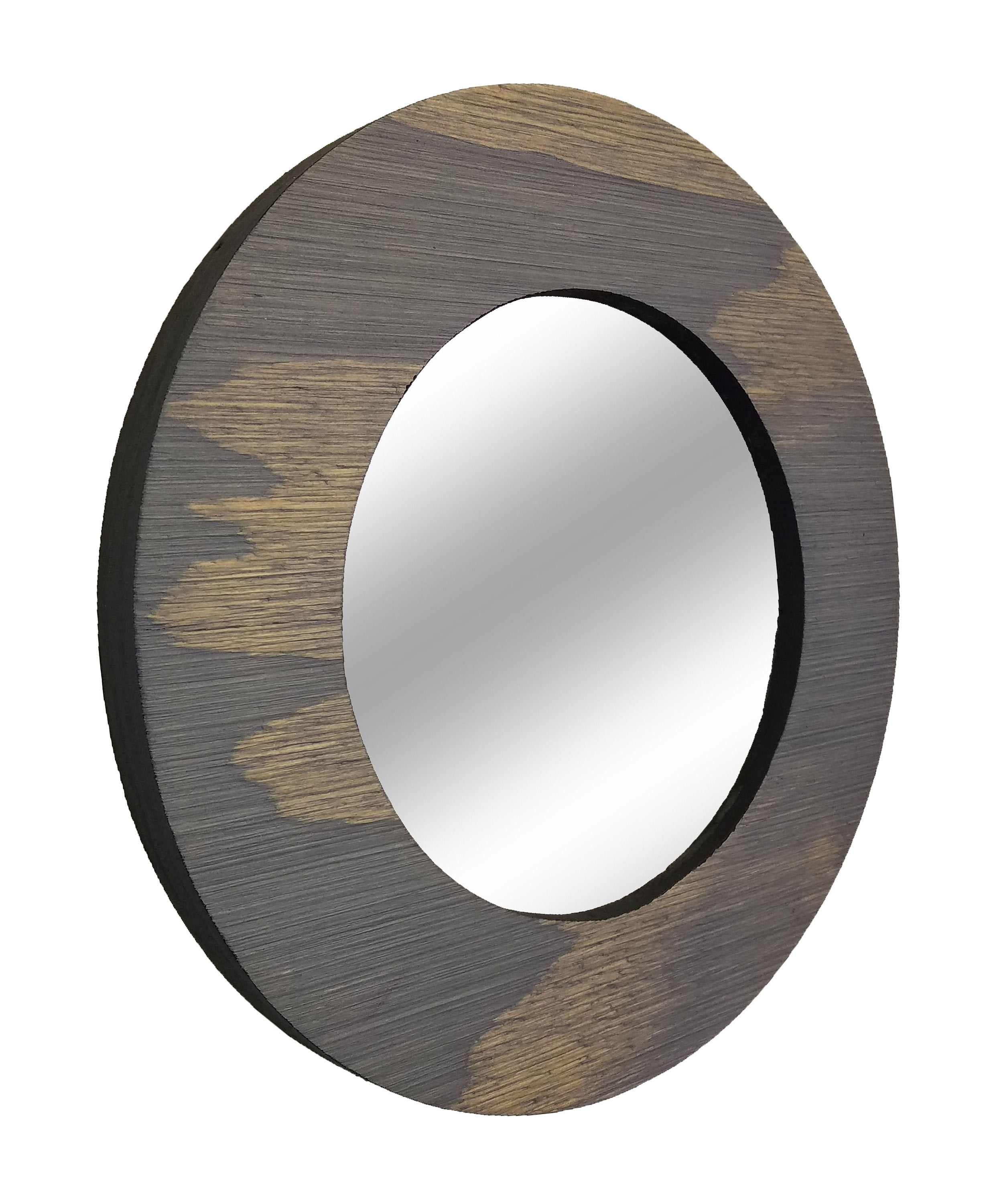 Wood Curve Round Decorative Wall Mirror Stain Samples - Renewed Decor & Storage