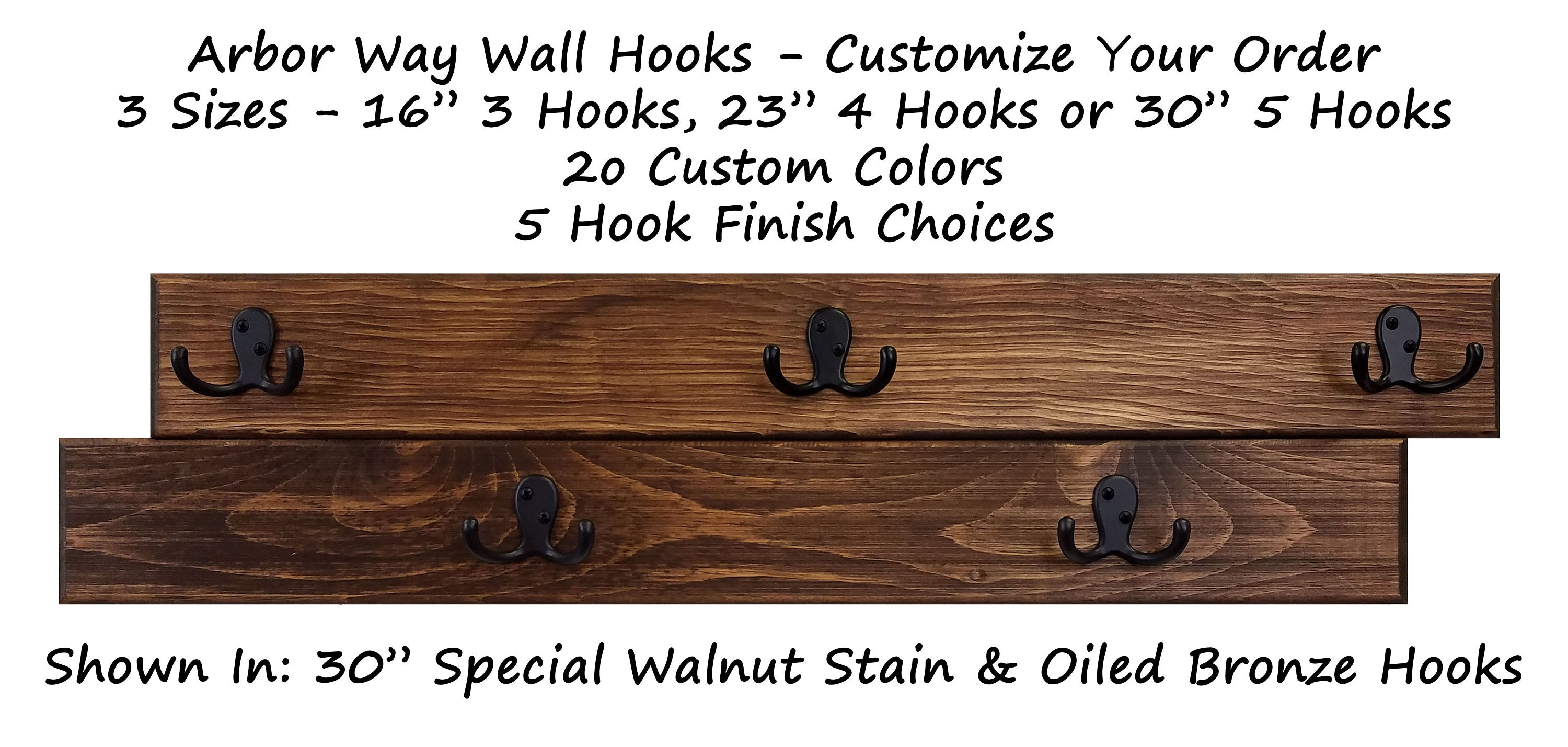 Arbor Way Wall Hooks - 20 Stain Colors - Renewed Decor & Storage