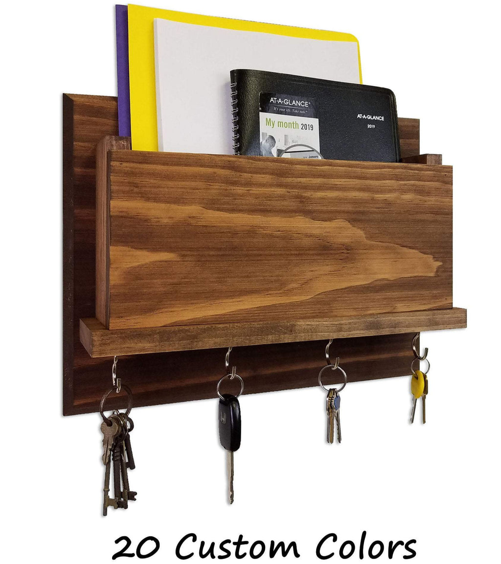 New Columbus Rustic Mail and Key Organizer, Key Hook, Mail Holder, Key Rack, Mail Bin, Folder Holder - Renewed Decor & Storage