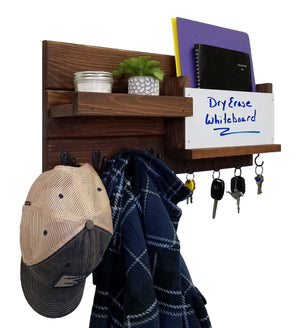 Dry Erase Whiteboard Restyled Farmhouse Organizer with Shelf, Mail Bin & Hooks - 20 Stain Colors - Renewed Decor & Storage