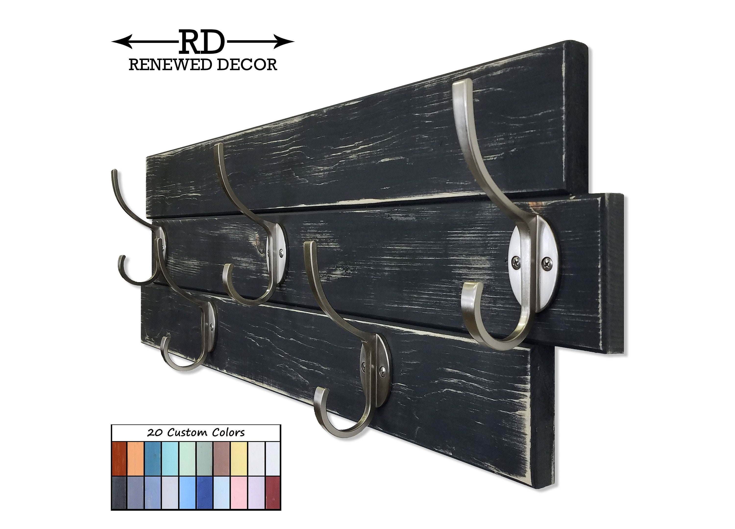 American Farmhouse Wood Wall Hook Rack - 20 Paint Colors - Renewed Decor & Storage