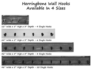 Herringbone Wall Hooks, 20 Stain Colors - Renewed Decor & Storage