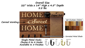 Home Sweet Home Farmhouse Rustic Wooden Memo Roll Holder, 20 Stain Colors - Renewed Decor & Storage