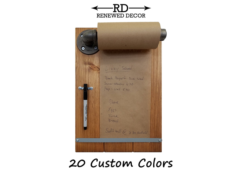 Clover Alley Memo Paper Roll Holder - 20 Stain Colors - Renewed Decor & Storage