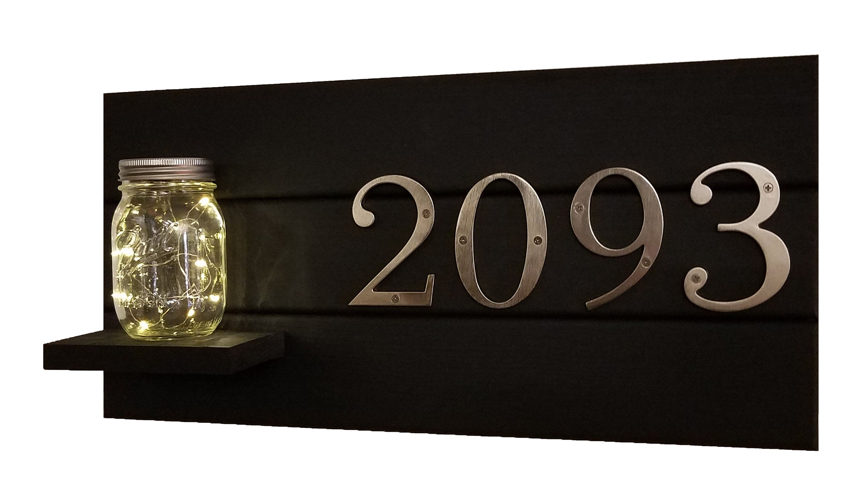 Shady Grove Farmhouse Style House Numbers Sign and Mason Jar LED Fairly Light, Address Plaque, House Number Sign, Address Sign - Renewed Decor & Storage
