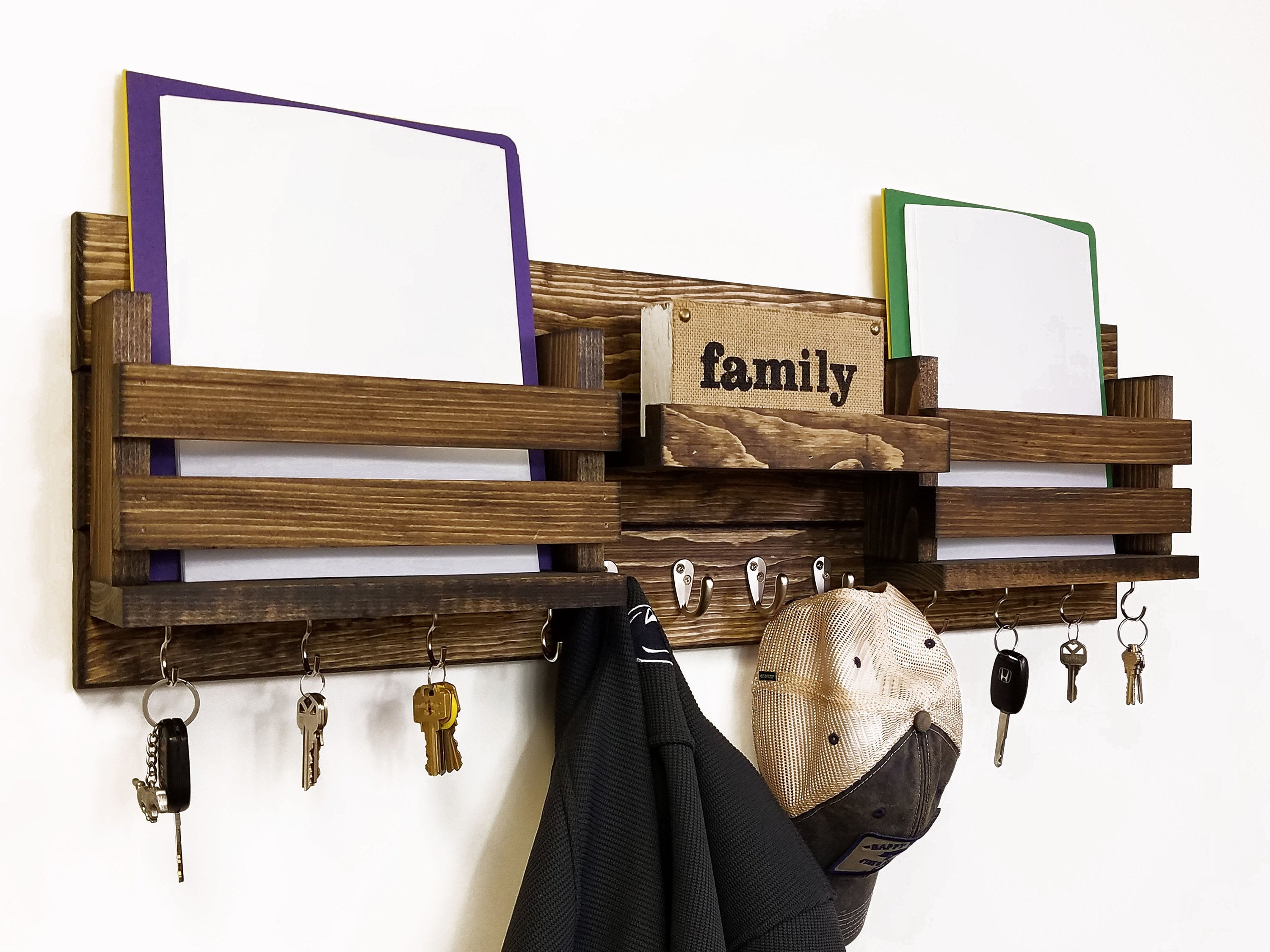Newtown Farmhouse Large Family Double Bin Wall Mounted Organizer, Entryway Wall Organizer, Coat Rack with Shelf, Wall Mount Coat Rack - Renewed Decor & Storage