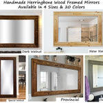 Herringbone Reclaimed Wood Mirror, 20 Stain Colors - Renewed Decor & Storage