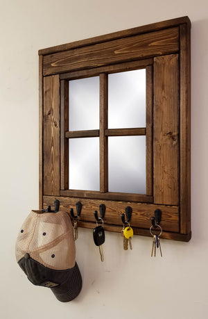 Barn Window Mirror With Hooks - 20 Stain Colors - Renewed Decor & Storage
