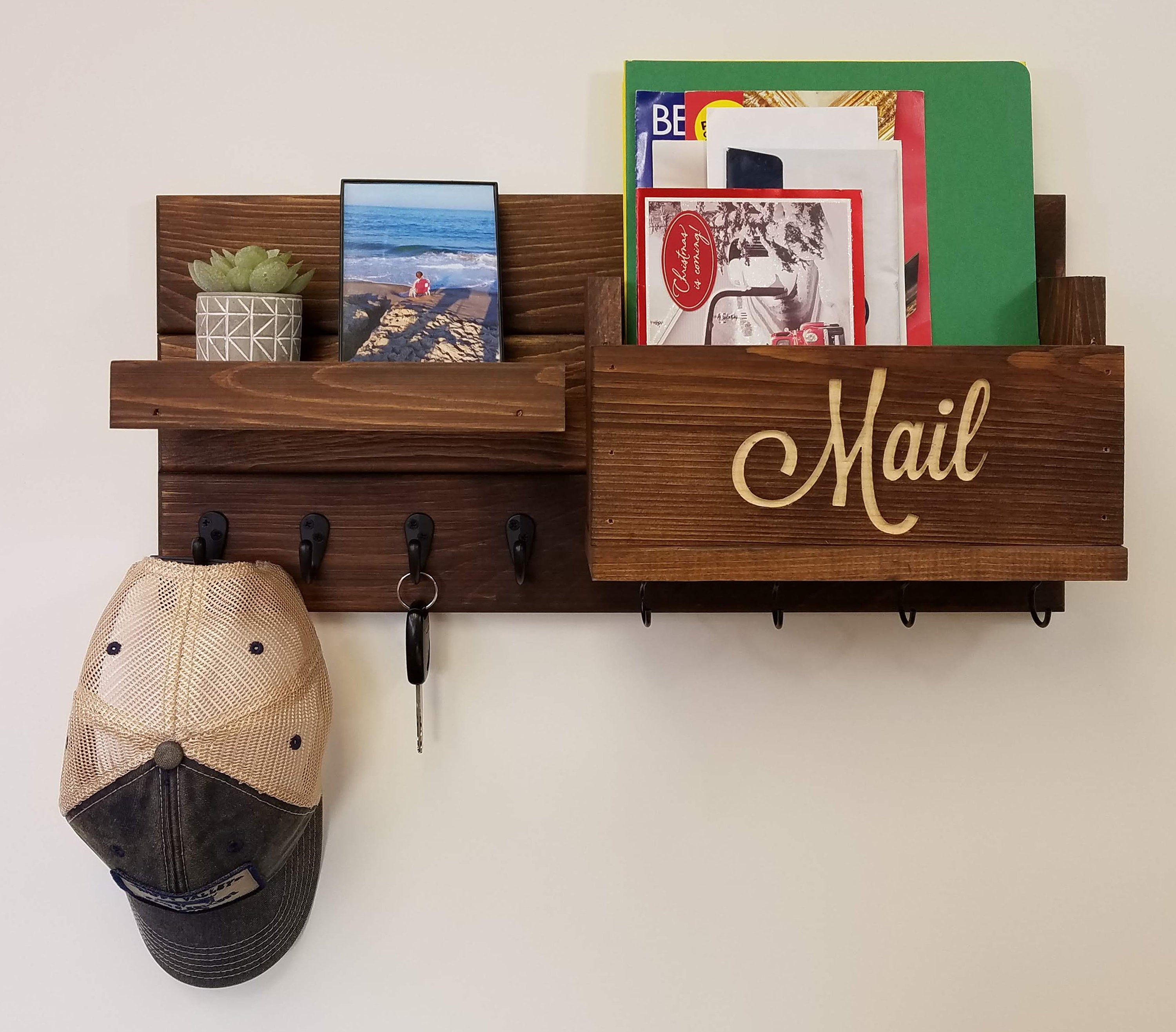 Carved Text Mail Bin Restyled Farmhouse Mail Organizer with Hooks - 20 Stain Colors - Renewed Decor & Storage