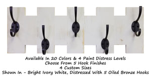 Easton Wall Mounted Hook Rack - 20 Paint Colors - Renewed Decor & Storage