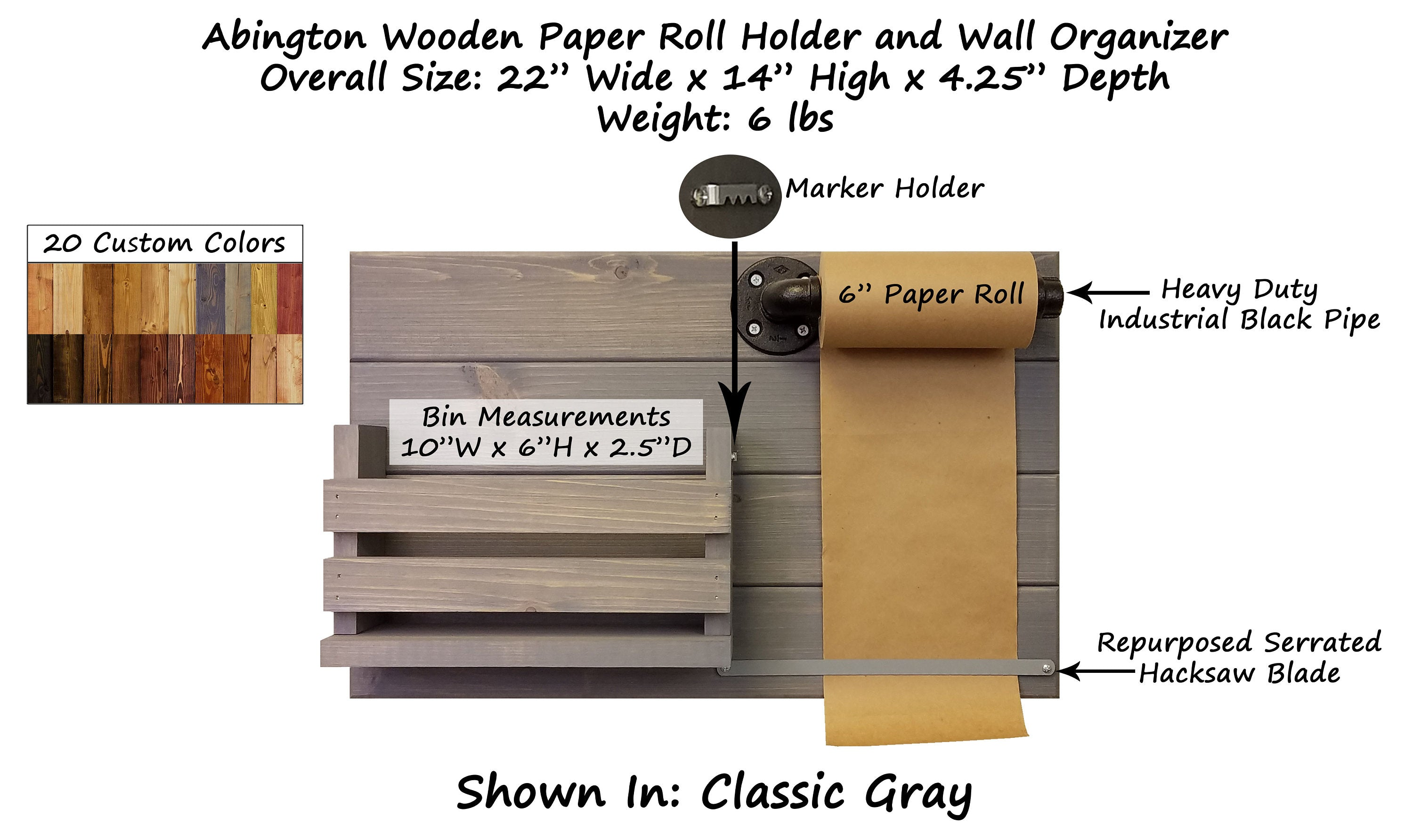 Abington Wooden Paper Roll Holder and Wall Organizer - 20 Stain Colors - Renewed Decor & Storage