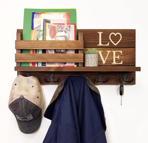 Personalized Love Discovery Rustic Home Organizer, Mail & Key Holder, Floating Shelf, Coat Hook - Renewed Decor & Storage