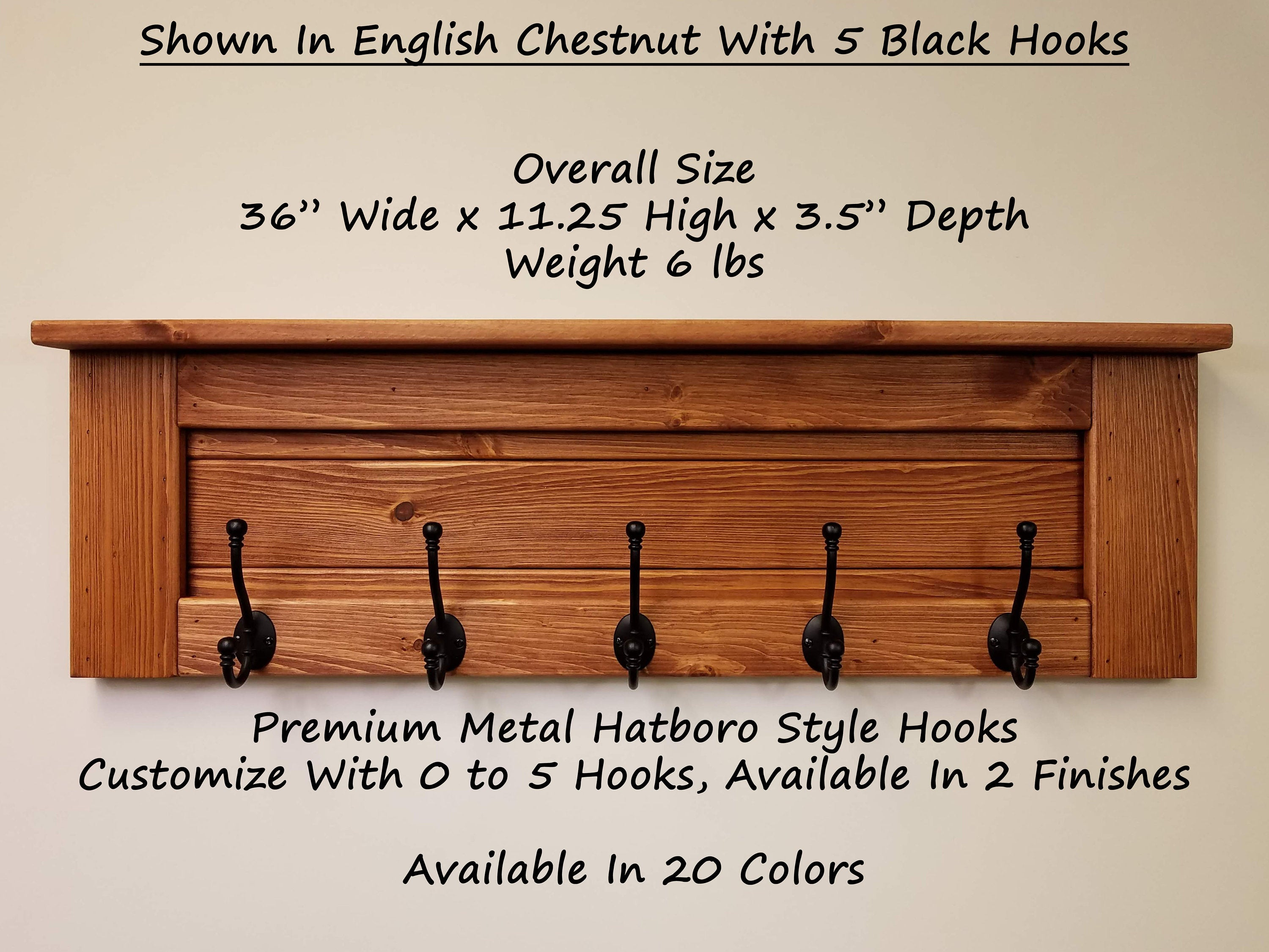 Langhorne Wall Coat Rack With Shelf, 20 Stain Colors - Renewed Decor & Storage