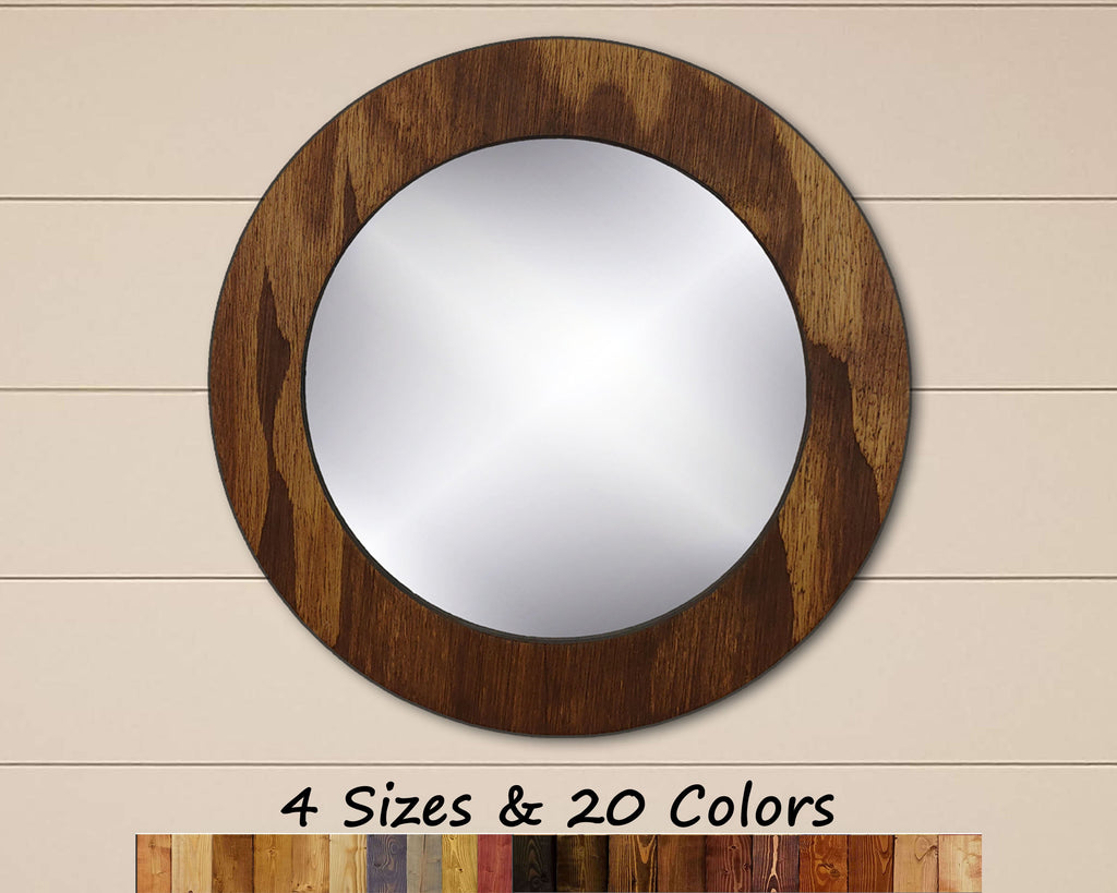 Wood Basics Round Decorative Wall Mirror - Renewed Decor & Storage