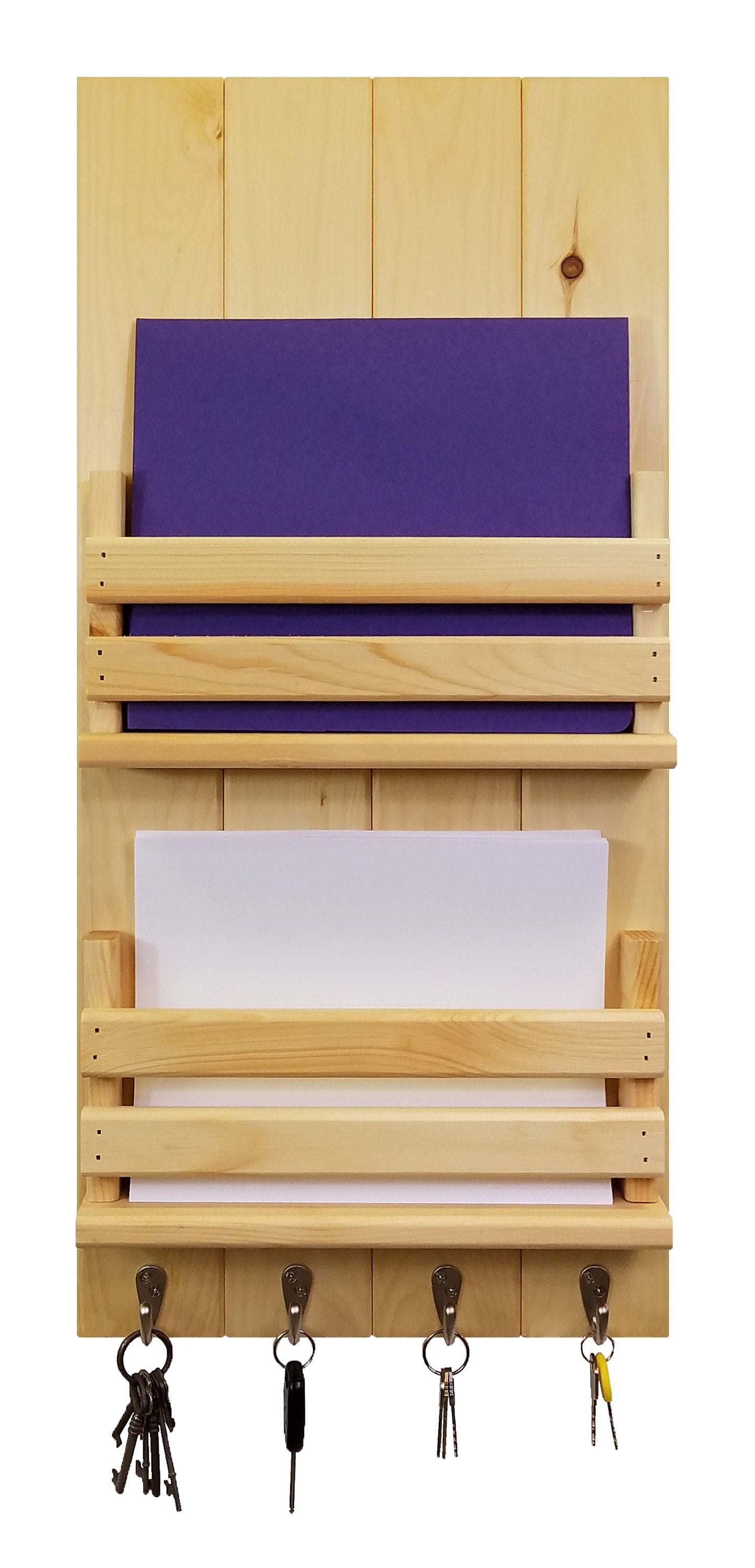 Lawndale Dual Bin Mail Organizer, 20 Stain Colors - Renewed Decor & Storage