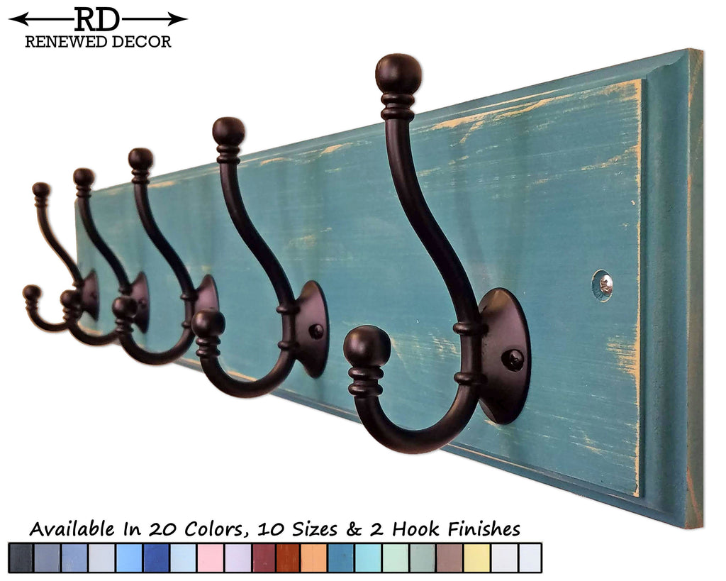 Brookside Wall Mounted Hook Rack - 20 Paint Colors - Renewed Decor & Storage