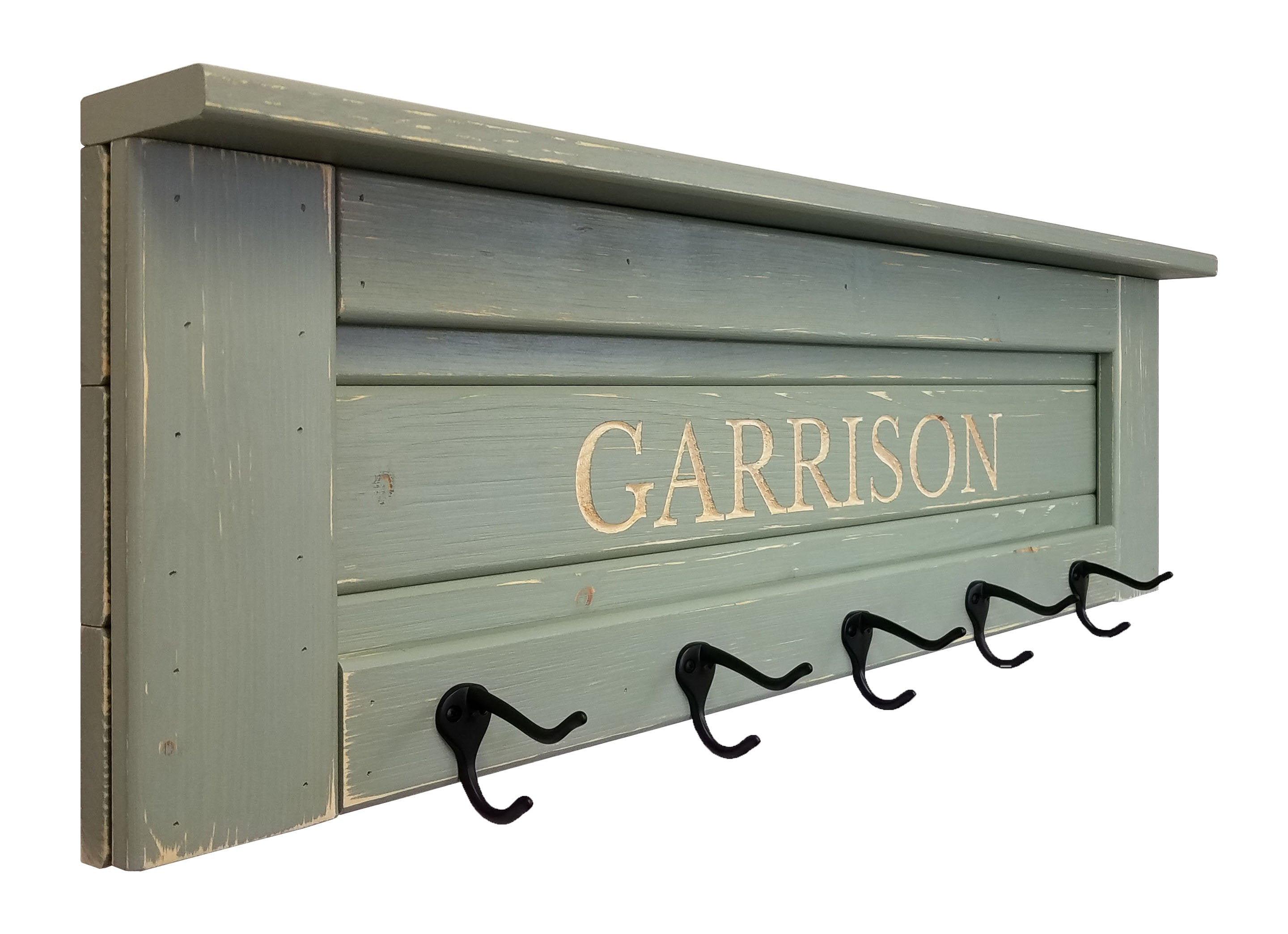 Carved Lettering Farmhouse Shelf and Wall Hooks - 20 PaintColors - Renewed Decor & Storage