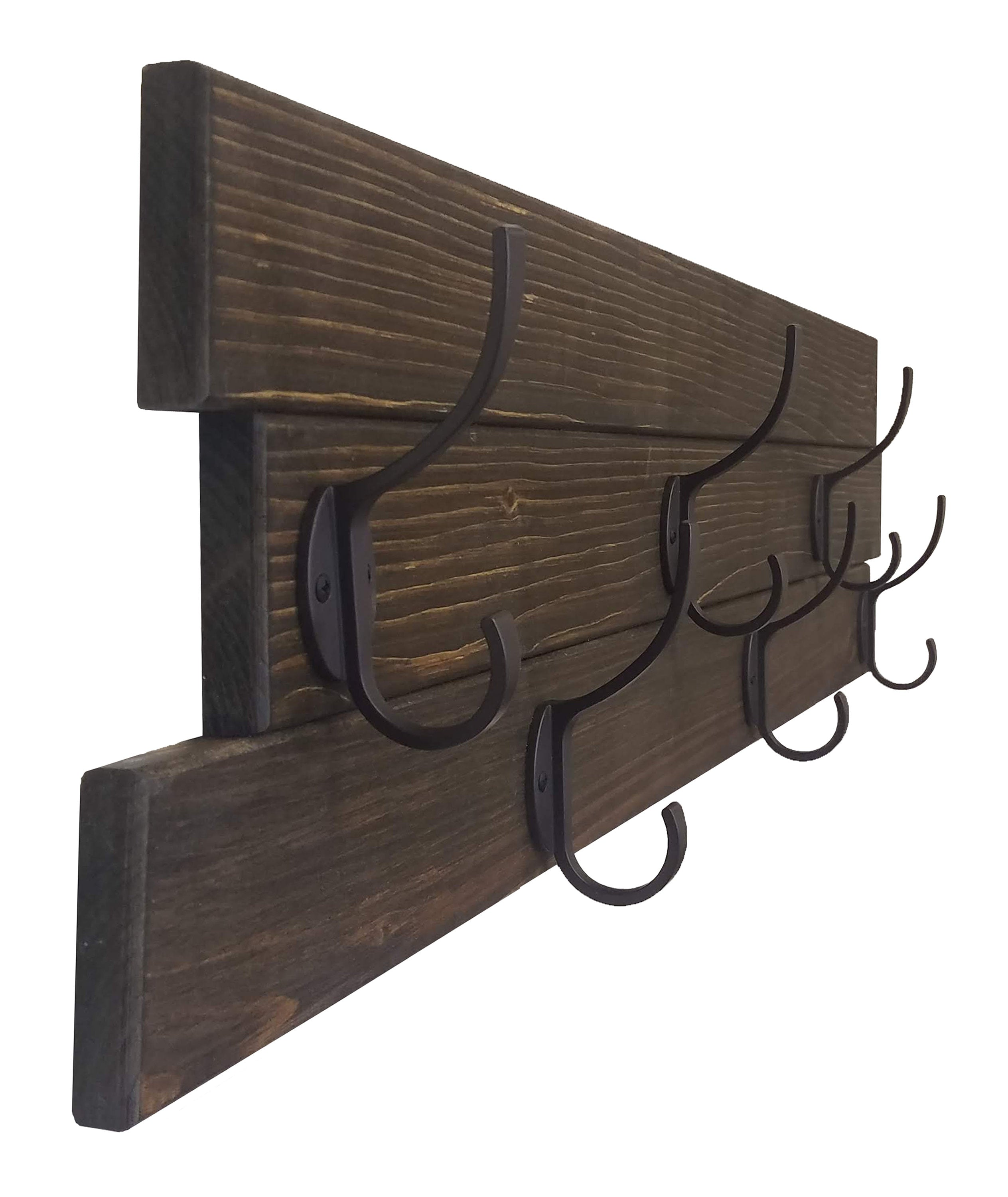 American Farmhouse Wood Wall Hook Rack - 20 Stain Colors - Renewed Decor & Storage