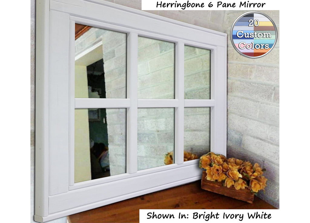 Herringbone 6 Pane Window Mirror, 20 Paint Colors - Renewed Decor & Storage