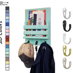 Sydney Slat Front, Mail Holder Organizer and Key Holder, Available with up to 3 Single Key Hooks – 20 Custom Colors: Shown in Sea Blue - Renewed Decor & Storage