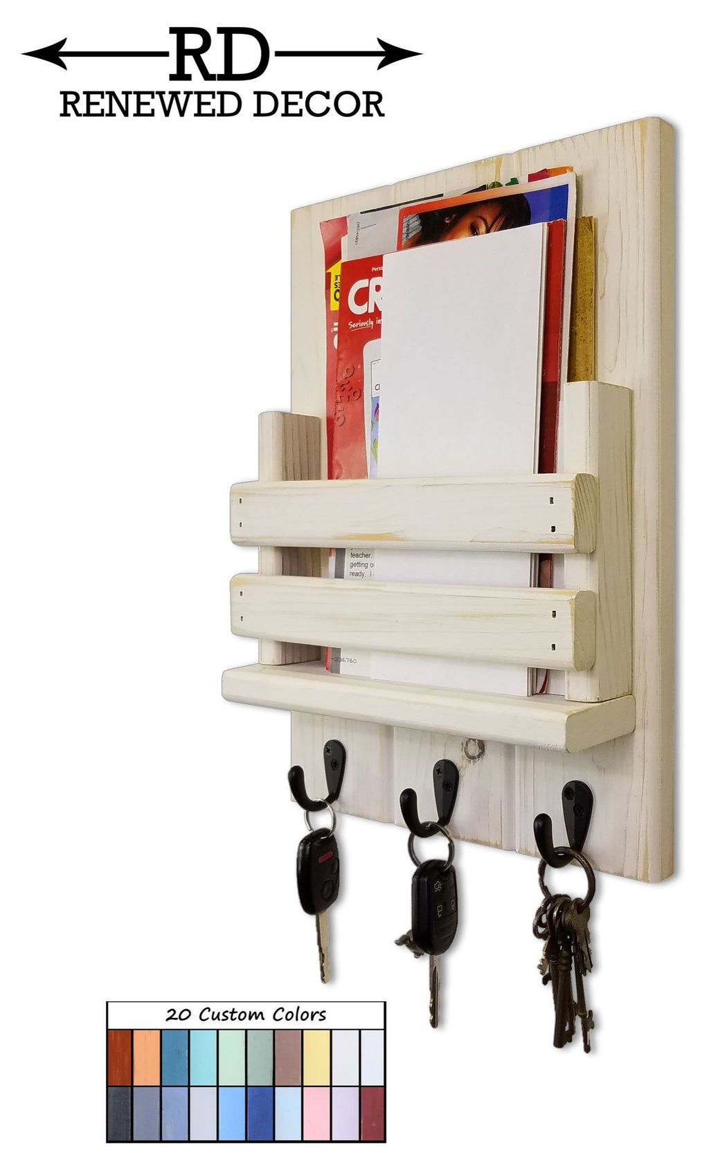 Sydney Slat Front, Mail Holder Organizer and Key Holder, Available with up to 3 Single Key Hooks – 20 Colors: Shown in Antique White - Renewed Decor & Storage