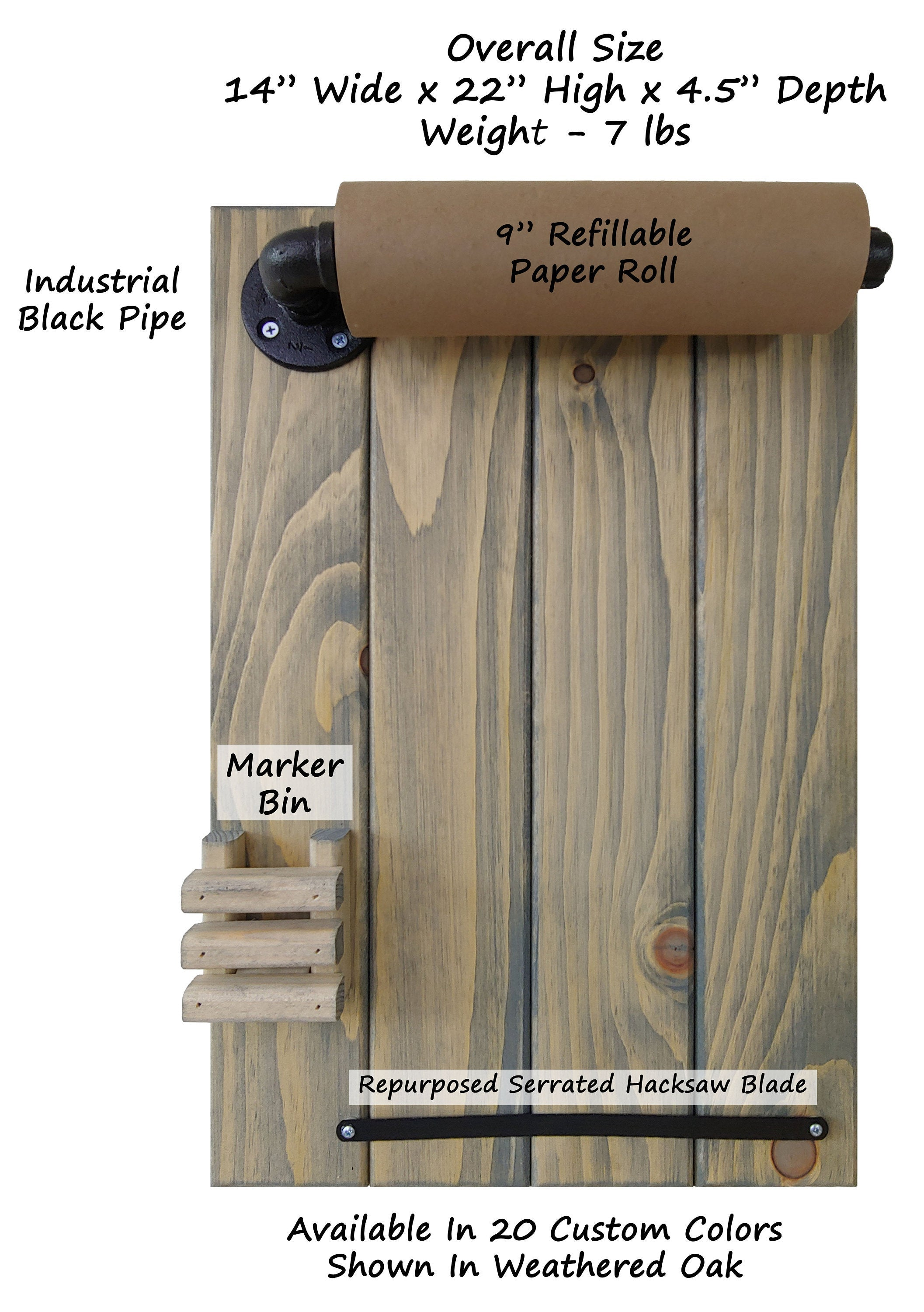 Rydal Farmhouse Rustic Wooden Memo Paper Roll Holder, Personalized Gift, Housewarming Gift, Farmhouse Wall Decor, Rustic - Renewed Decor & Storage