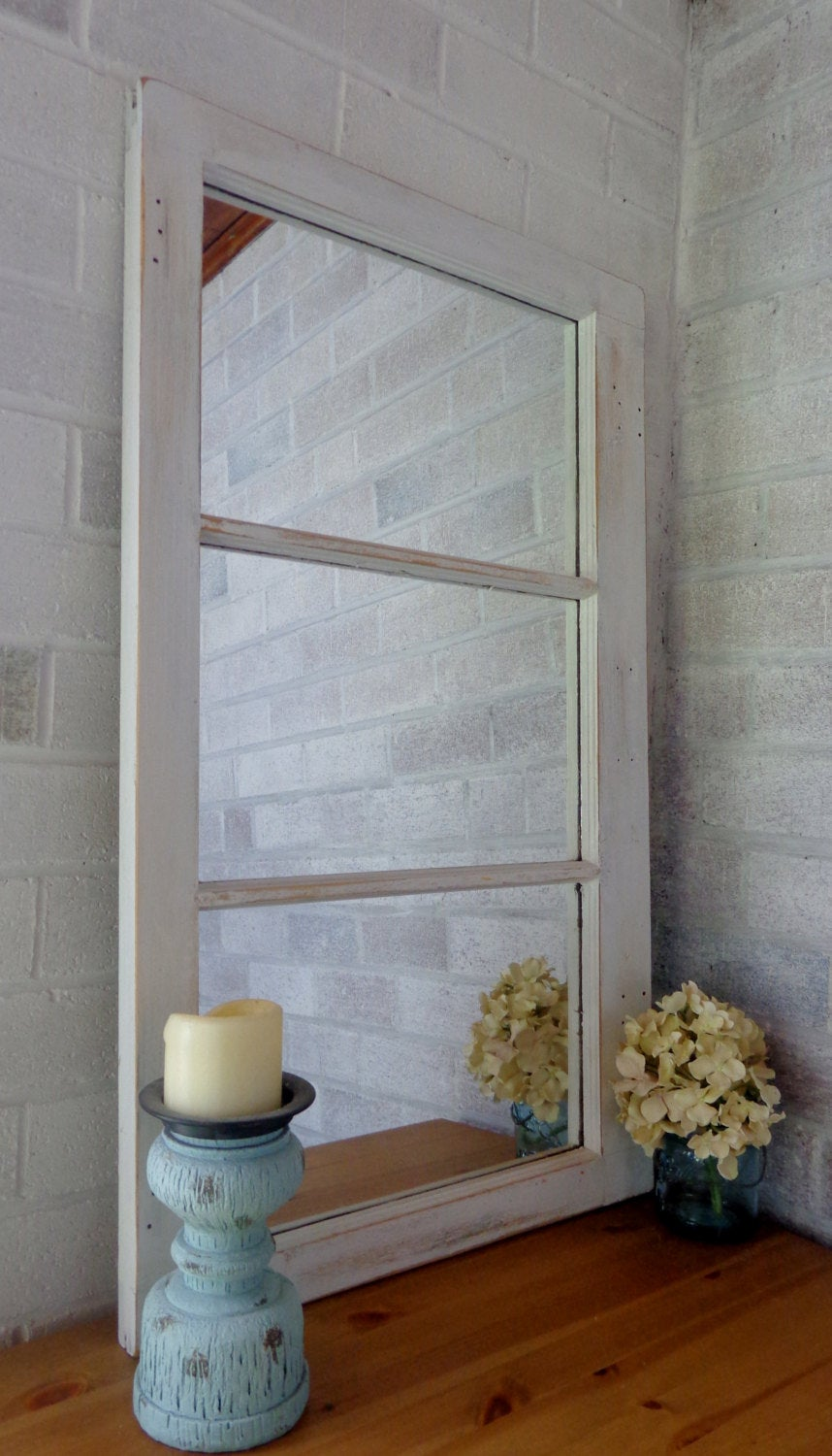 Mirror Wall Decor, Reclaimed Wood Window Mirror – 3 Pane Frame – Decorative Mirror – Vintage Wall Mirror - Renewed Decor & Storage