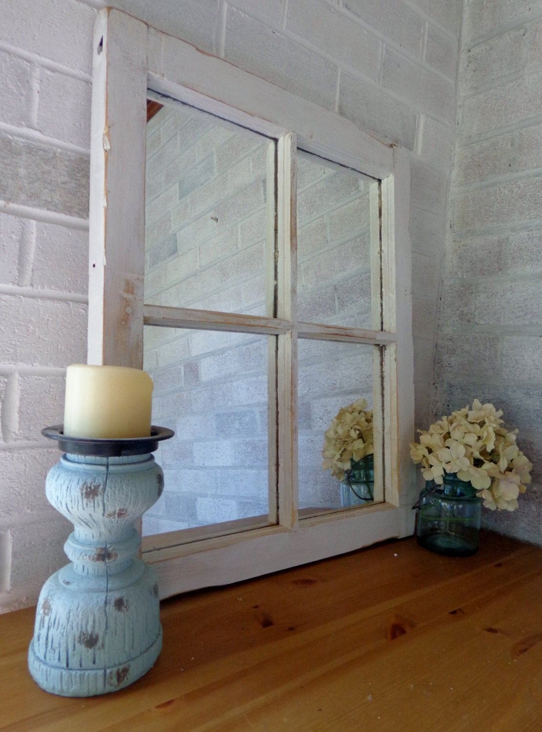 Mirror Wall Decor, Reclaimed Wood Window Mirror – 4 Pane Frame – Decorative Mirror – Vintage Mirror Decor - Renewed Decor & Storage