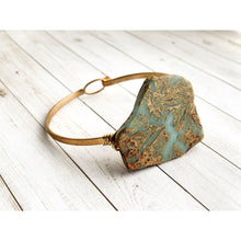 Load image into Gallery viewer, African Jasper Gold Bangle - Gold Arrow Studios