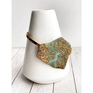 African Jasper Gold Bangle - Gold Arrow Studios