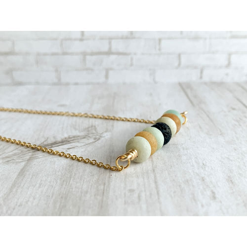 Amazonite Diffuser Necklace - Gold Arrow Studios