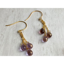 Load image into Gallery viewer, Amethyst Glass Dangle Earrings - Gold Arrow Studios