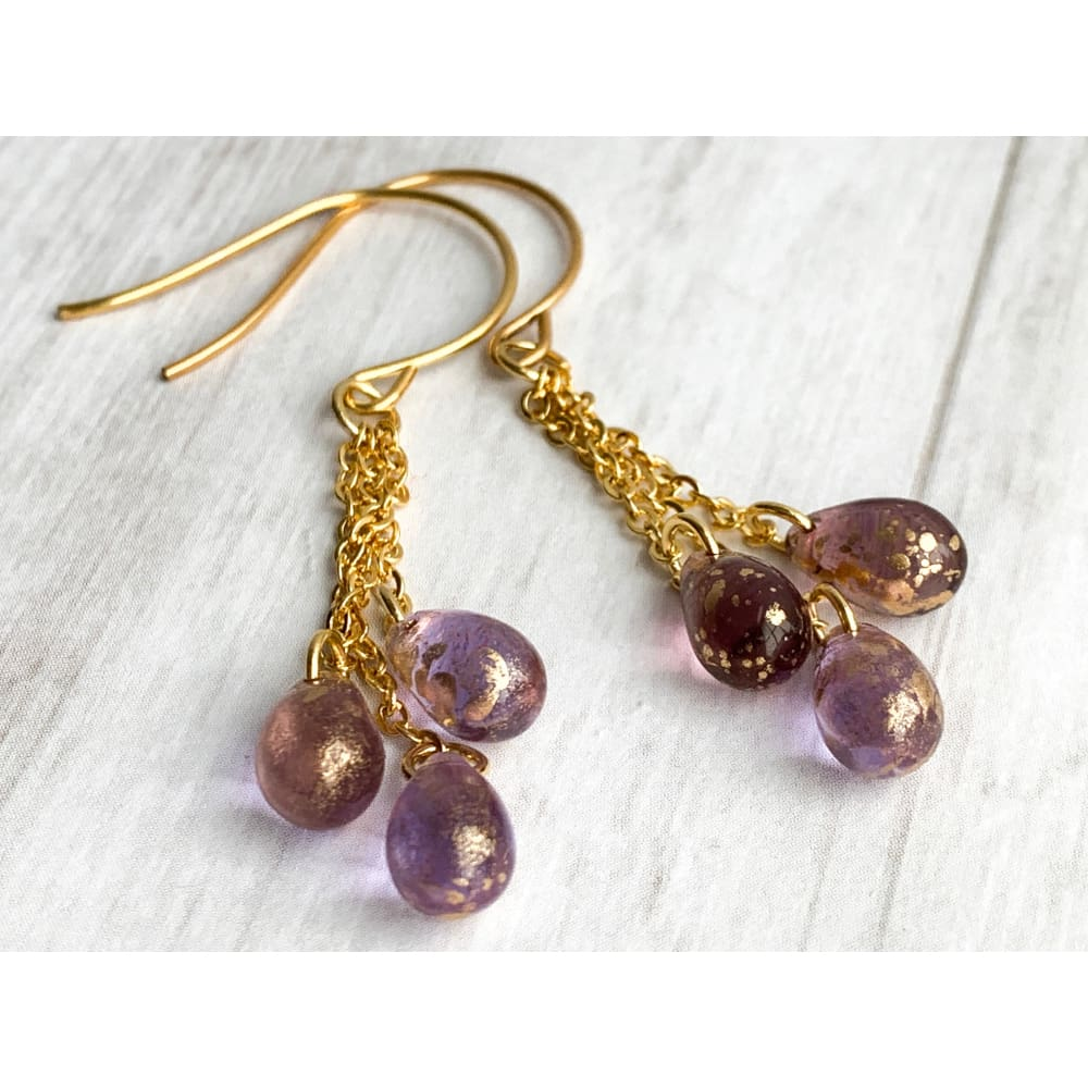 Amethyst Glass Dangle Earrings - Gold Arrow Studios
