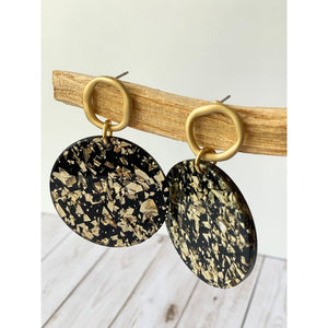 Black and Gold Acrylic Dangle - Dangle Earrings