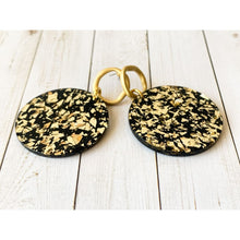 Load image into Gallery viewer, Black and Gold Acrylic Dangle - Dangle Earrings