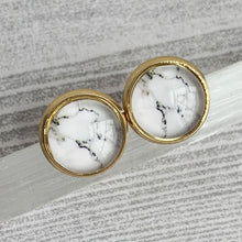Load image into Gallery viewer, Black and White Marble Studs - Gold Arrow Studios
