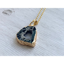 Load image into Gallery viewer, Black Geode Agate Stone Necklace - Gold Arrow Studios