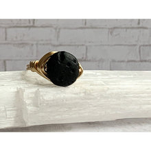 Load image into Gallery viewer, Black Lava Diffuser Ring - Gold Arrow Studios