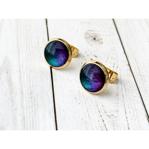 Black Opal Studs - Gold Arrow Studios