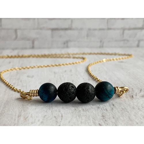 Blue Tiger Eye Diffuser Necklace - Gold Arrow Studios