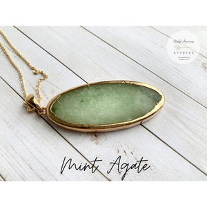 Boho Crystal Layering Necklaces - Mint Agate - Necklace