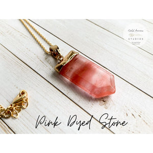 Boho Crystal Layering Necklaces - Pink Dyed Stone - Necklace