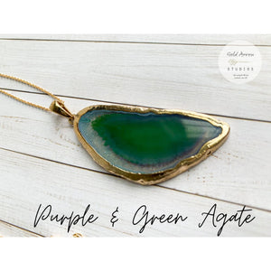 Boho Crystal Layering Necklaces - Purple & Green Agate - Necklace