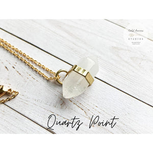 Boho Crystal Layering Necklaces - Quartz Point - Necklace